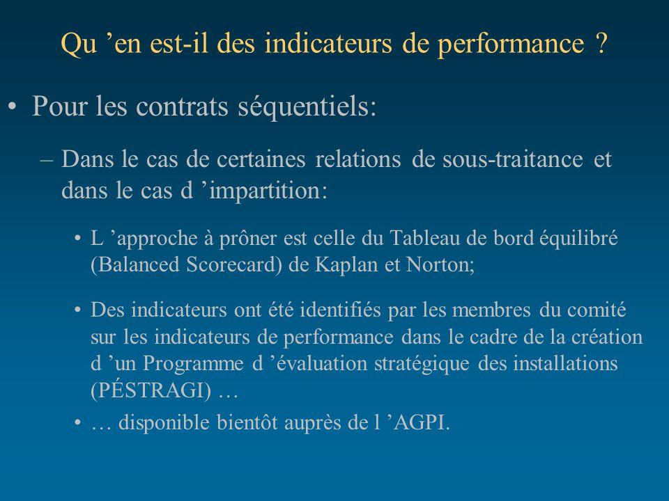 Qu 'en est-il des indicateurs de performance ? Pour les contrats séquentiels: –Dans le cas de certaines relations de sous-traitance et dans le cas d '