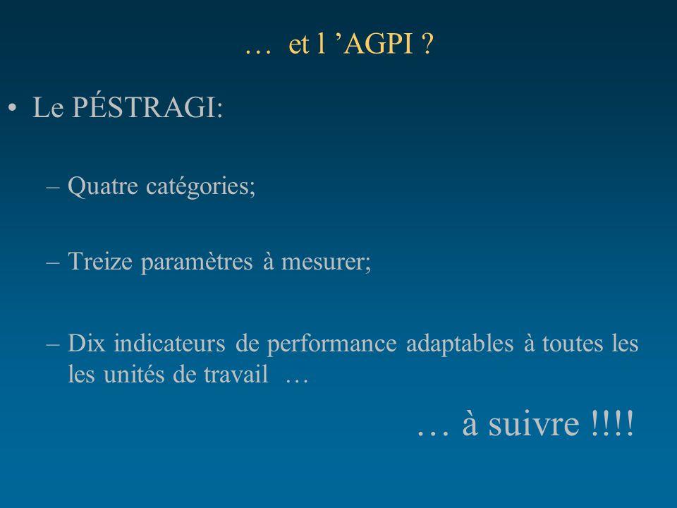… et l 'AGPI ? Le PÉSTRAGI: –Quatre catégories; –Treize paramètres à mesurer; –Dix indicateurs de performance adaptables à toutes les les unités de tr