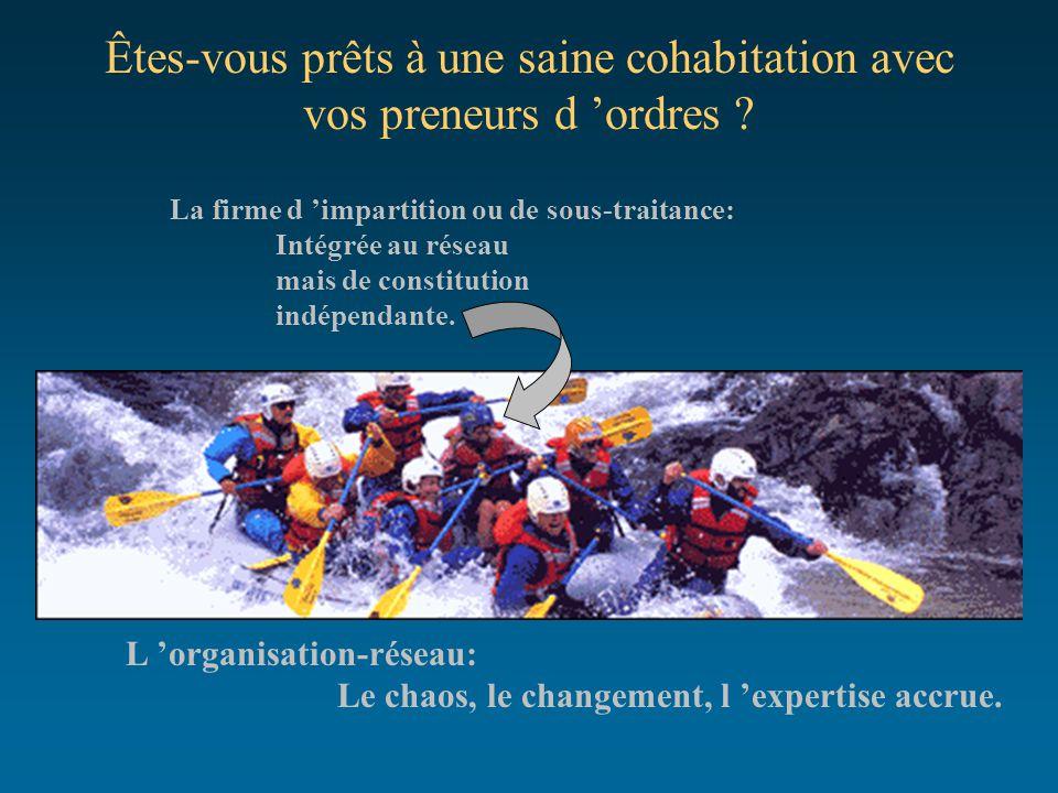 Êtes-vous prêts à une saine cohabitation avec vos preneurs d 'ordres ? L 'organisation-réseau: Le chaos, le changement, l 'expertise accrue. La firme