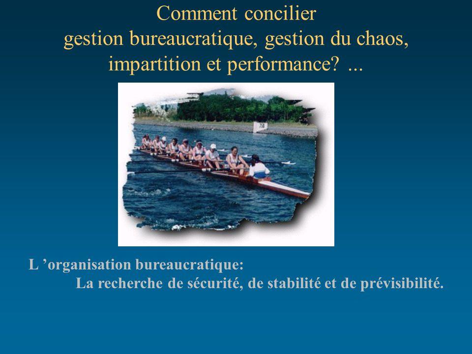 Comment concilier gestion bureaucratique, gestion du chaos, impartition et performance?... L 'organisation bureaucratique: La recherche de sécurité, d