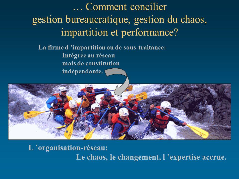 … Comment concilier gestion bureaucratique, gestion du chaos, impartition et performance? L 'organisation-réseau: Le chaos, le changement, l 'expertis