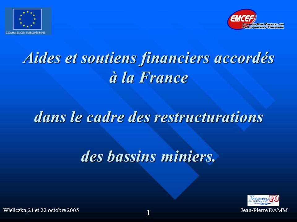 Aides et soutiens financiers accordés à la France dans le cadre des restructurations des bassins miniers.