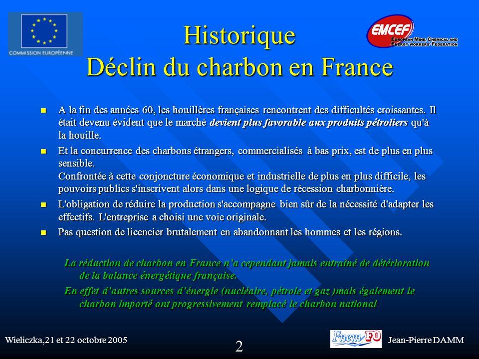 Historique Déclin du charbon en France A la fin des années 60, les houillères françaises rencontrent des difficultés croissantes.