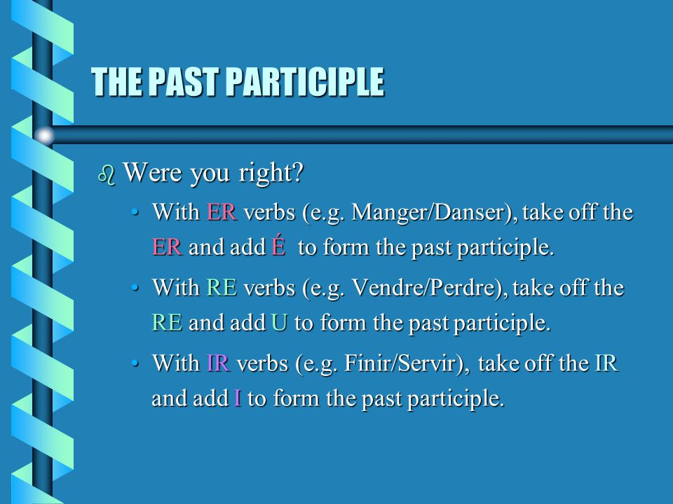 THE PAST PARTICIPLE b Were you right.With ER verbs (e.g.