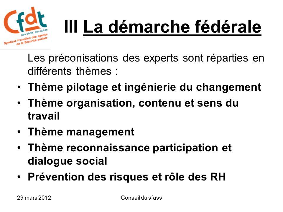 29 mars 2012Conseil du sfass 15 préconisations 1Mener à tous les niveaux un travail d'adaptation sur les organisations en intégrant la dimension condition de travail 2Donner du sens à la notion de qualité 3Accompagner les cadres (accompagnement plus individuel) 4Améliorer l'accompagnement au changement 5Donner au plus haut niveau du sens aux objectifs et indicateurs 6Préciser le rôle du cadre de proximité 7Redéfinir les marges de manœuvre des cadres 8Améliorer l'accessibilité et l'assimilation des informations techniques pour permettre de faire un travail de qualité.