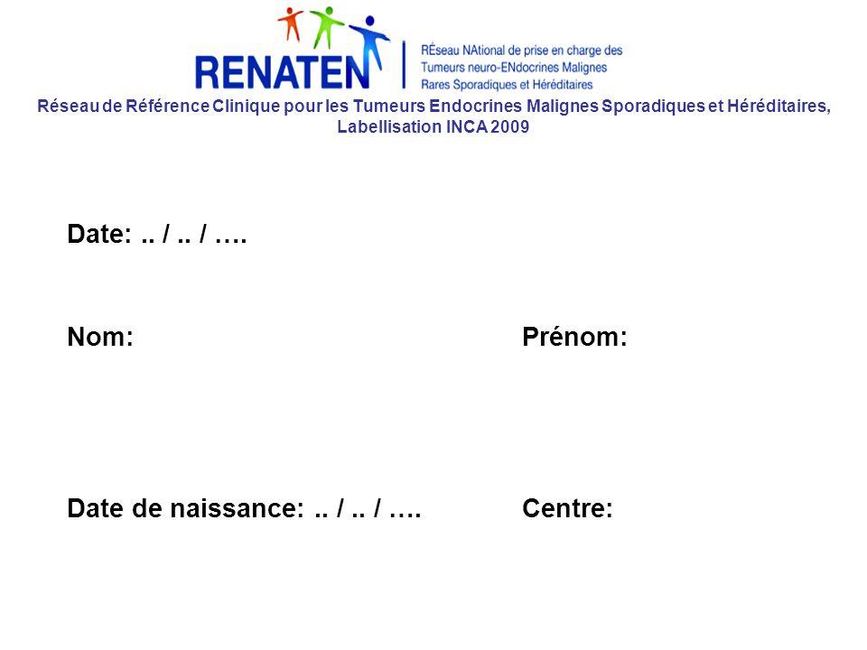 Réseau de Référence Clinique pour les Tumeurs Endocrines Malignes Sporadiques et Héréditaires, Labellisation INCA 2009 Date:..
