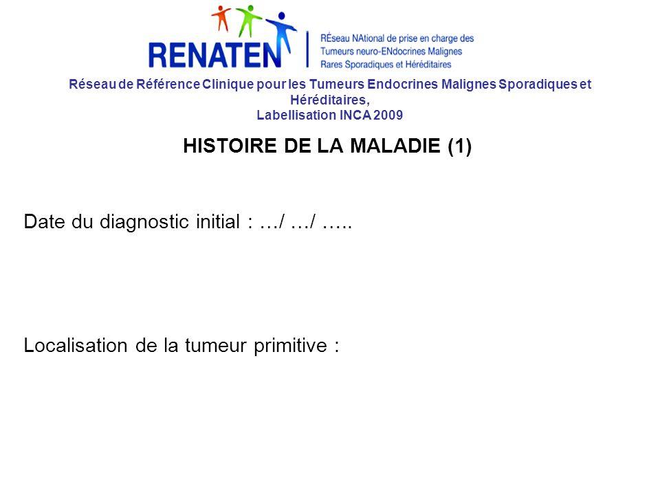 Réseau de Référence Clinique pour les Tumeurs Endocrines Malignes Sporadiques et Héréditaires, Labellisation INCA 2009 HISTOIRE DE LA MALADIE (1) Date du diagnostic initial : …/ …/ …..