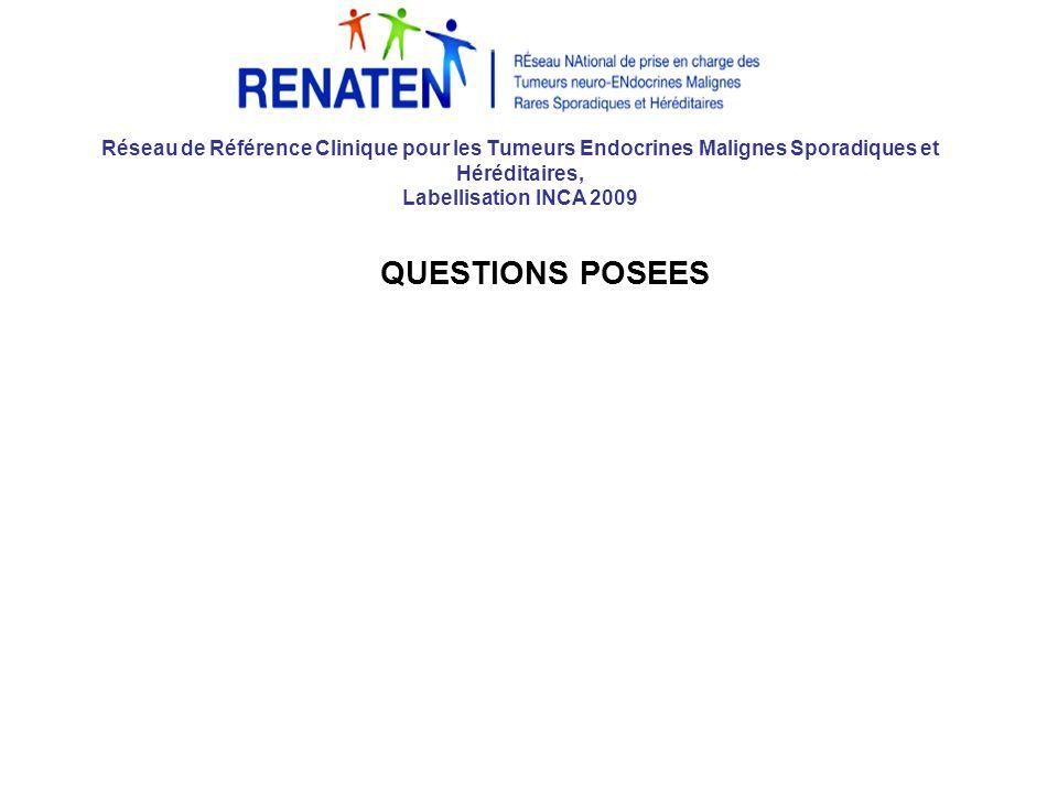 Réseau de Référence Clinique pour les Tumeurs Endocrines Malignes Sporadiques et Héréditaires, Labellisation INCA 2009 QUESTIONS POSEES