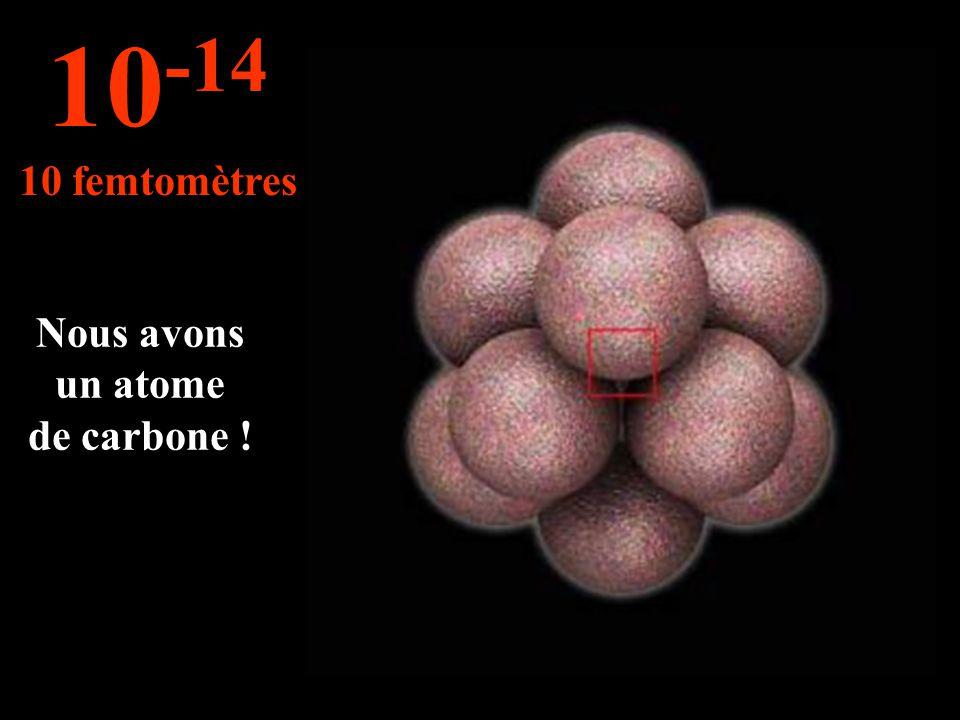 Cette mesure s'applique pour la taille des noyaux d'un atome 10 -13 100 femtomètres