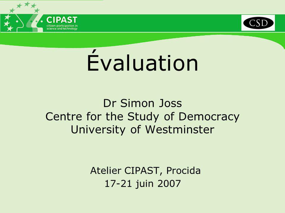 Évaluation interne de Meeting of Minds Logique : La valeur d'une évaluation interne est particulièrement importante pour cette initiative.