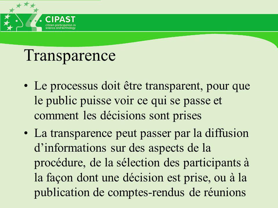 Transparence Le processus doit être transparent, pour que le public puisse voir ce qui se passe et comment les décisions sont prises La transparence peut passer par la diffusion d'informations sur des aspects de la procédure, de la sélection des participants à la façon dont une décision est prise, ou à la publication de comptes-rendus de réunions