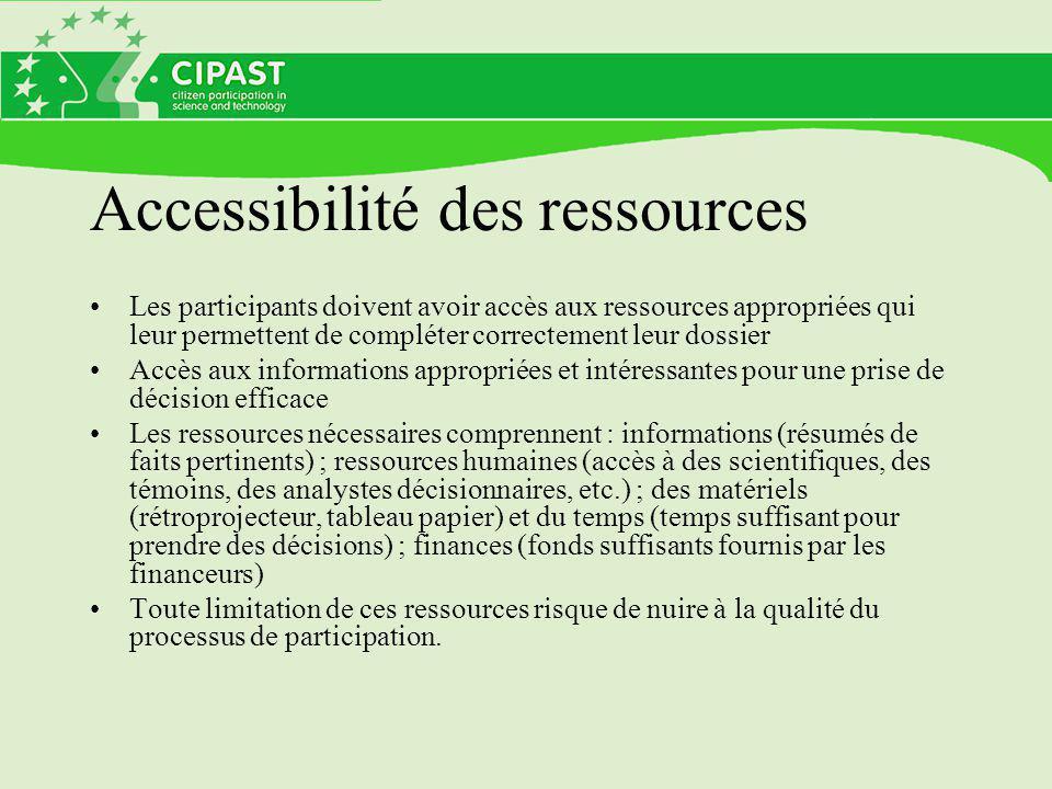Accessibilité des ressources Les participants doivent avoir accès aux ressources appropriées qui leur permettent de compléter correctement leur dossie