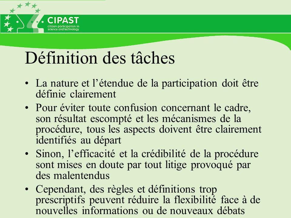 Définition des tâches La nature et l'étendue de la participation doit être définie clairement Pour éviter toute confusion concernant le cadre, son rés
