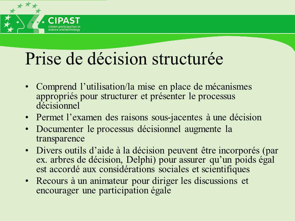 Prise de décision structurée Comprend l'utilisation/la mise en place de mécanismes appropriés pour structurer et présenter le processus décisionnel Pe
