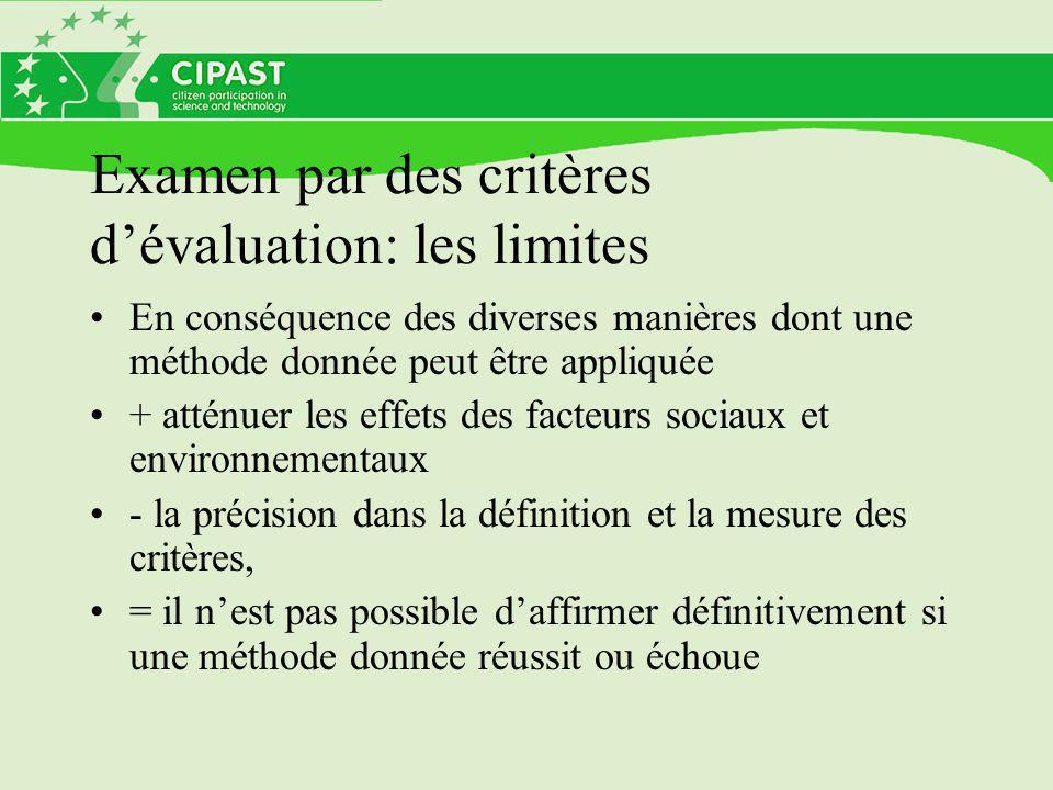 Examen par des critères d'évaluation: les limites En conséquence des diverses manières dont une méthode donnée peut être appliquée + atténuer les effets des facteurs sociaux et environnementaux - la précision dans la définition et la mesure des critères, = il n'est pas possible d'affirmer définitivement si une méthode donnée réussit ou échoue