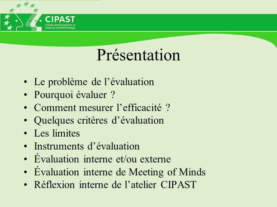 Présentation Le problème de l'évaluation Pourquoi évaluer ? Comment mesurer l'efficacité ? Quelques critères d'évaluation Les limites Instruments d'év