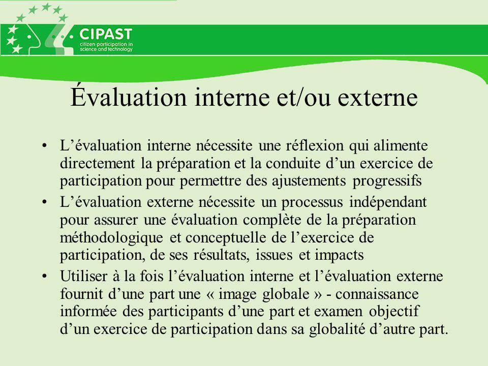 Évaluation interne et/ou externe L'évaluation interne nécessite une réflexion qui alimente directement la préparation et la conduite d'un exercice de