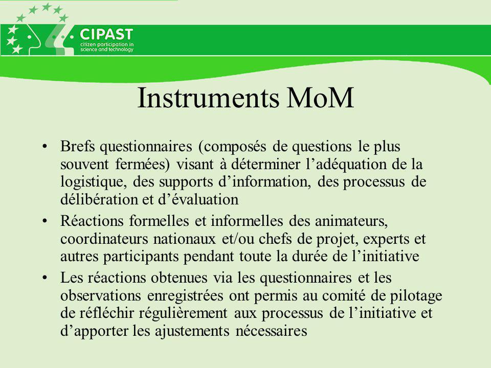 Instruments MoM Brefs questionnaires (composés de questions le plus souvent fermées) visant à déterminer l'adéquation de la logistique, des supports d