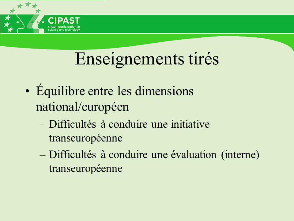 Enseignements tirés Équilibre entre les dimensions national/européen –Difficultés à conduire une initiative transeuropéenne –Difficultés à conduire une évaluation (interne) transeuropéenne