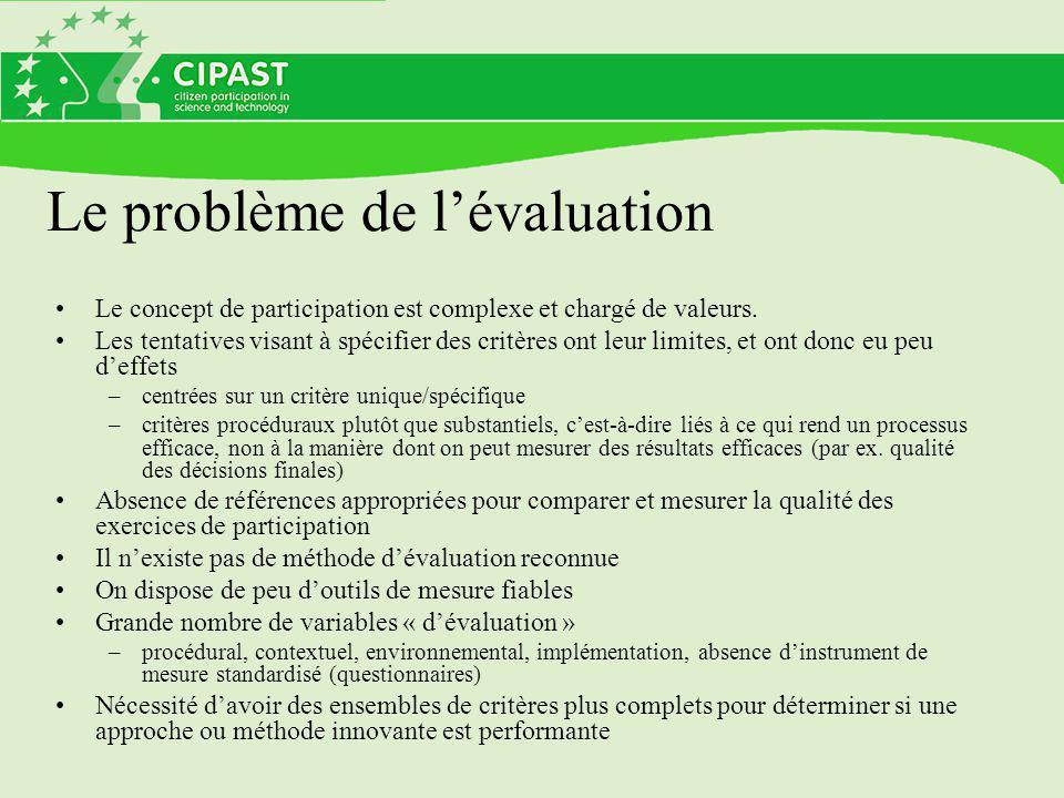 Le problème de l'évaluation Le concept de participation est complexe et chargé de valeurs.