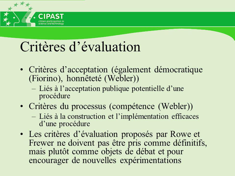 Critères d'évaluation Critères d'acceptation (également démocratique (Fiorino), honnêteté (Webler)) –Liés à l'acceptation publique potentielle d'une procédure Critères du processus (compétence (Webler)) –Liés à la construction et l'implémentation efficaces d'une procédure Les critères d'évaluation proposés par Rowe et Frewer ne doivent pas être pris comme définitifs, mais plutôt comme objets de débat et pour encourager de nouvelles expérimentations