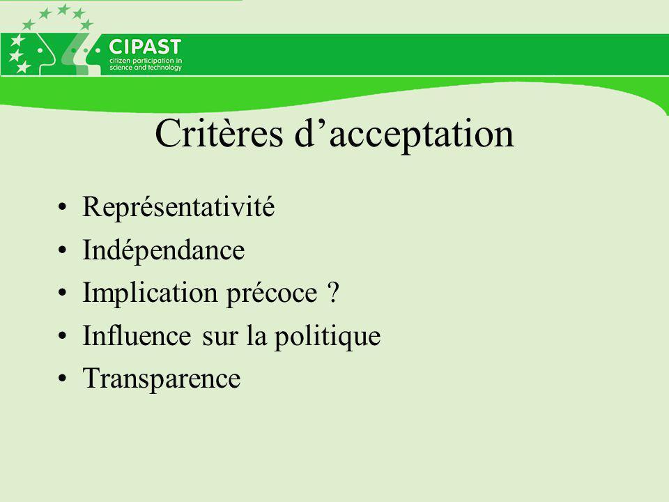 Critères d'acceptation Représentativité Indépendance Implication précoce ? Influence sur la politique Transparence