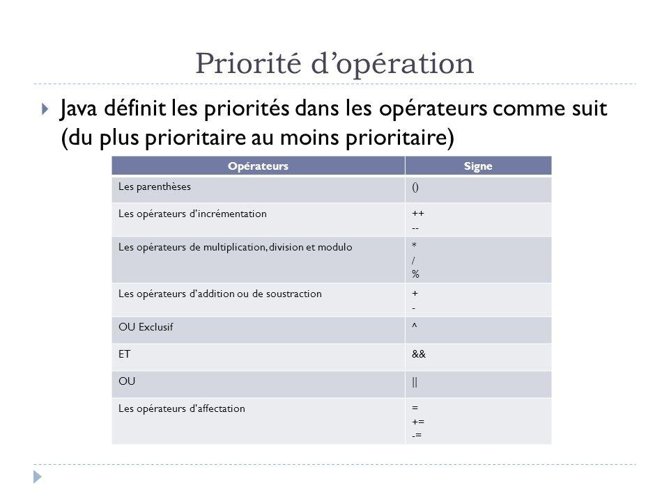 Priorité d'opération  Java définit les priorités dans les opérateurs comme suit (du plus prioritaire au moins prioritaire) OpérateursSigne Les parent