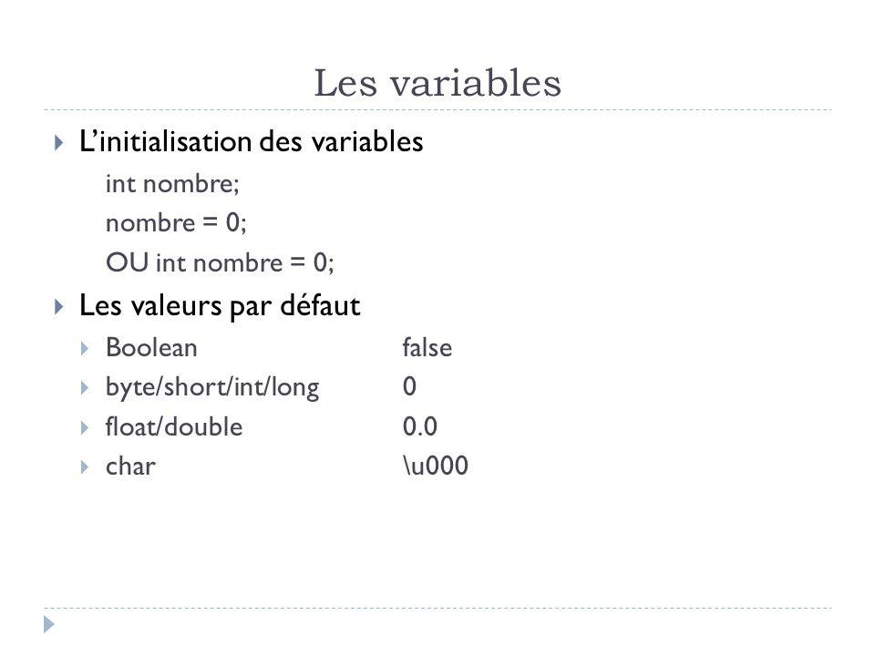 Les variables  L'initialisation des variables int nombre; nombre = 0; OU int nombre = 0;  Les valeurs par défaut  Booleanfalse  byte/short/int/long0  float/double0.0  char\u000