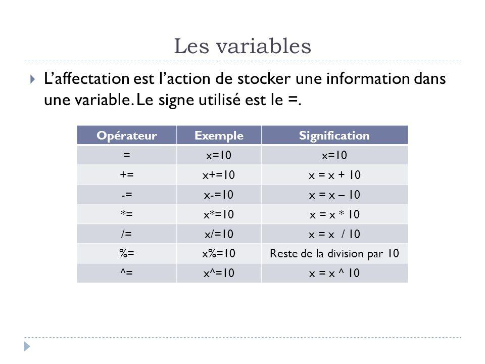 Les variables  L'affectation est l'action de stocker une information dans une variable.