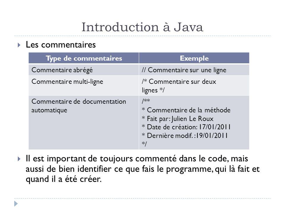 Introduction à Java  Les commentaires  Il est important de toujours commenté dans le code, mais aussi de bien identifier ce que fais le programme, qui là fait et quand il a été créer.