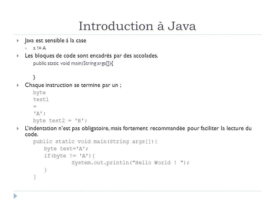 Introduction à Java  Une variable à un type, un identificateur et une valeur (pas obligatoire)  type identificateur = valeur;  byte test = B ;  L'identificateur ne peut pas avoir un nom réserver par Java  Voici la liste des noms réserver abstractconstfinalintpublicthrow assertcontinuefinallyinterfacereturnthrows booleandefaultfloatlongshorttransient breakdofornativestatictrue bytedoublegotonewstrictfptry caseelseifnullsupervoid catchenumimplementspackageswitchvolatile charextendsimportprivatesynchronizedwhile classfalseinstanceofprotectedThis