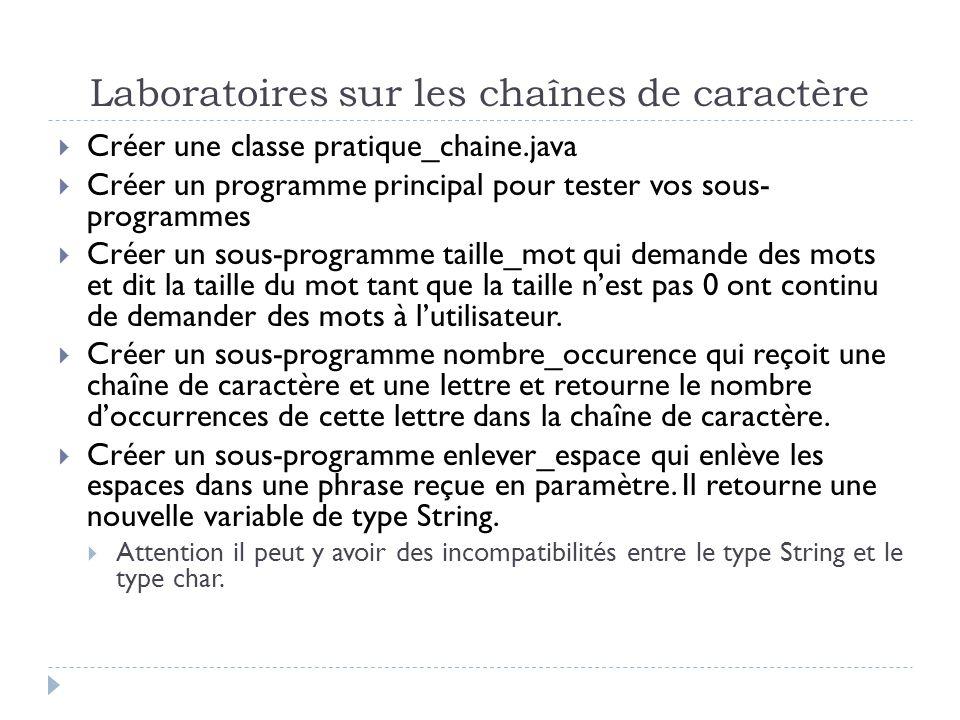 Laboratoires sur les chaînes de caractère  Créer une classe pratique_chaine.java  Créer un programme principal pour tester vos sous- programmes  Créer un sous-programme taille_mot qui demande des mots et dit la taille du mot tant que la taille n'est pas 0 ont continu de demander des mots à l'utilisateur.