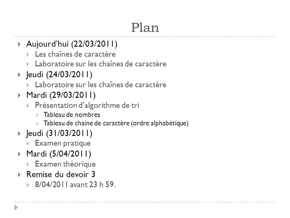 Plan  Aujourd'hui (22/03/2011)  Les chaînes de caractère  Laboratoire sur les chaînes de caractère  Jeudi (24/03/2011)  Laboratoire sur les chaînes de caractère  Mardi (29/03/2011)  Présentation d'algorithme de tri  Tableau de nombres  Tableau de chaine de caractère (ordre alphabétique)  Jeudi (31/03/2011)  Examen pratique  Mardi (5/04/2011)  Examen théorique  Remise du devoir 3  8/04/2011 avant 23 h 59.
