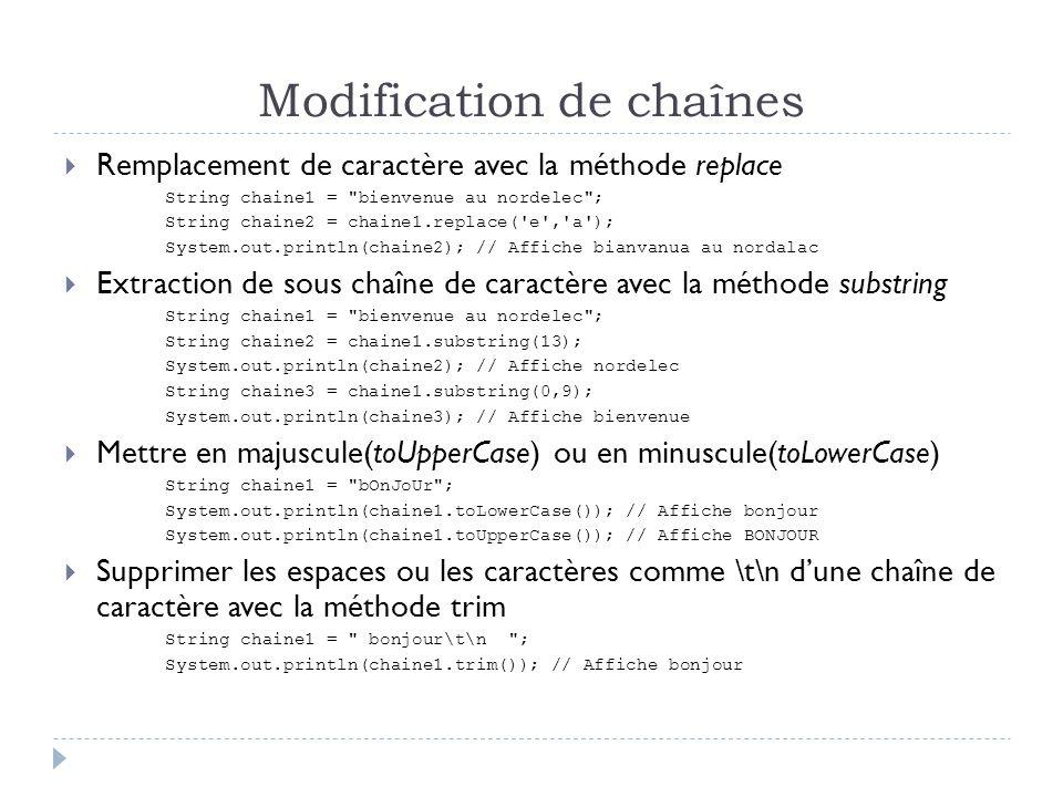 Modification de chaînes  Remplacement de caractère avec la méthode replace String chaine1 = bienvenue au nordelec ; String chaine2 = chaine1.replace( e , a ); System.out.println(chaine2); // Affiche bianvanua au nordalac  Extraction de sous chaîne de caractère avec la méthode substring String chaine1 = bienvenue au nordelec ; String chaine2 = chaine1.substring(13); System.out.println(chaine2); // Affiche nordelec String chaine3 = chaine1.substring(0,9); System.out.println(chaine3); // Affiche bienvenue  Mettre en majuscule(toUpperCase) ou en minuscule(toLowerCase) String chaine1 = bOnJoUr ; System.out.println(chaine1.toLowerCase()); // Affiche bonjour System.out.println(chaine1.toUpperCase()); // Affiche BONJOUR  Supprimer les espaces ou les caractères comme \t\n d'une chaîne de caractère avec la méthode trim String chaine1 = bonjour\t\n ; System.out.println(chaine1.trim()); // Affiche bonjour