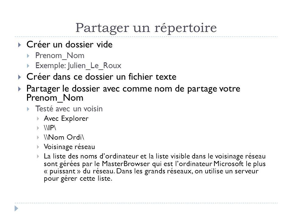 Partager un répertoire  Créer un dossier vide  Prenom_Nom  Exemple: Julien_Le_Roux  Créer dans ce dossier un fichier texte  Partager le dossier a