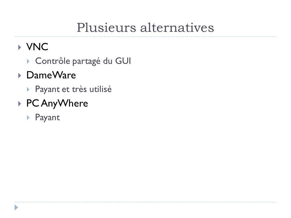 Plusieurs alternatives  VNC  Contrôle partagé du GUI  DameWare  Payant et très utilisé  PC AnyWhere  Payant