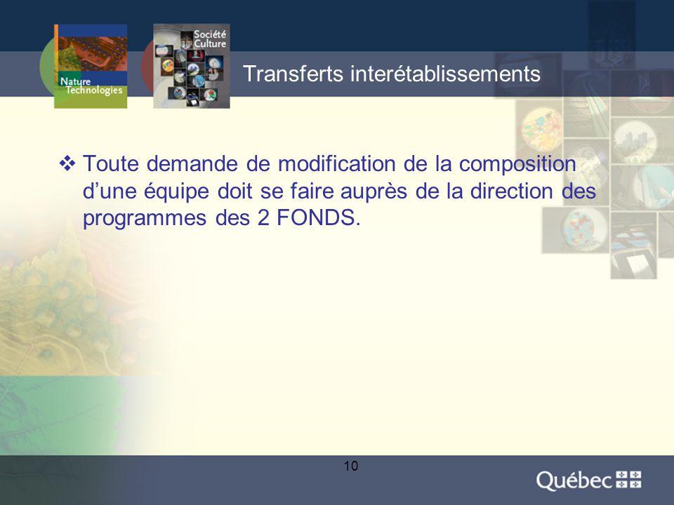 10 Transferts interétablissements  Toute demande de modification de la composition d'une équipe doit se faire auprès de la direction des programmes des 2 FONDS.
