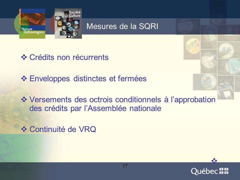 17 Mesures de la SQRI  Crédits non récurrents  Enveloppes distinctes et fermées  Versements des octrois conditionnels à l'approbation des crédits par l'Assemblée nationale  Continuité de VRQ 