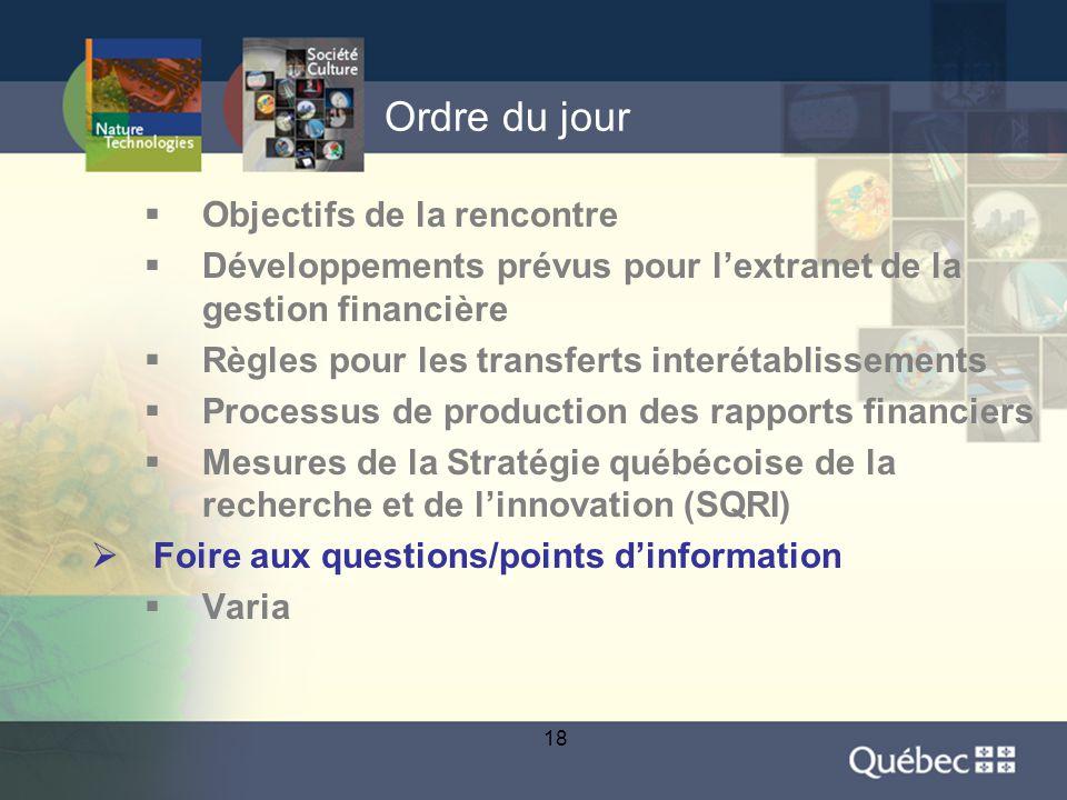 18 Ordre du jour  Objectifs de la rencontre  Développements prévus pour l'extranet de la gestion financière  Règles pour les transferts interétablissements  Processus de production des rapports financiers  Mesures de la Stratégie québécoise de la recherche et de l'innovation (SQRI)  Foire aux questions/points d'information  Varia