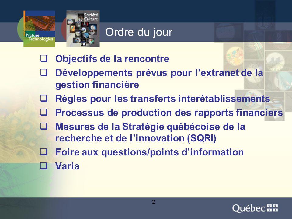 2 Ordre du jour  Objectifs de la rencontre  Développements prévus pour l'extranet de la gestion financière  Règles pour les transferts interétablissements  Processus de production des rapports financiers  Mesures de la Stratégie québécoise de la recherche et de l'innovation (SQRI)  Foire aux questions/points d'information  Varia