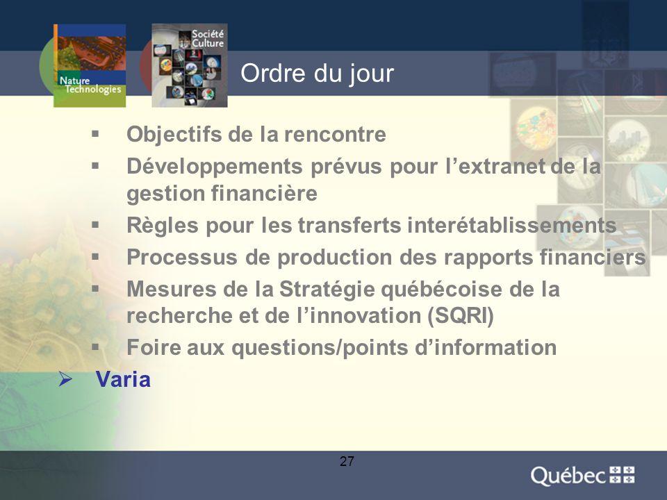27 Ordre du jour  Objectifs de la rencontre  Développements prévus pour l'extranet de la gestion financière  Règles pour les transferts interétablissements  Processus de production des rapports financiers  Mesures de la Stratégie québécoise de la recherche et de l'innovation (SQRI)  Foire aux questions/points d'information  Varia