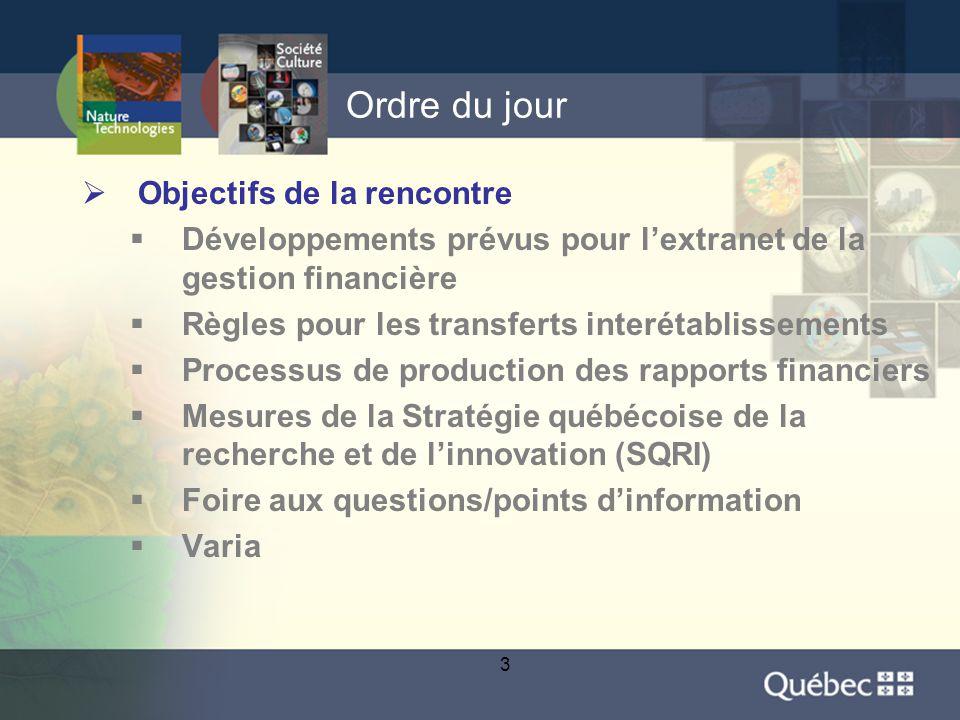 14 Ordre du jour  Objectifs de la rencontre  Développements prévus pour l'extranet de la gestion financière  Règles pour les transferts interétablissements  Processus de production des rapports financiers  Mesures de la Stratégie québécoise de la recherche et de l'innovation (SQRI)  Foire aux questions/points d'information  Varia