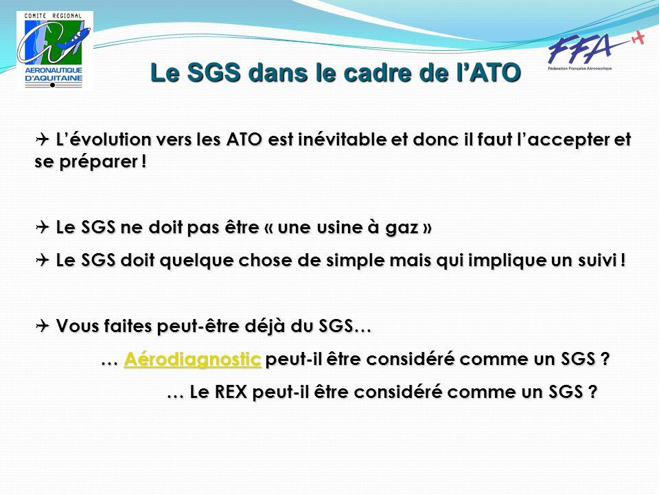 Le SGS dans le cadre de l'ATO  L'évolution vers les ATO est inévitable et donc il faut l'accepter et se préparer .