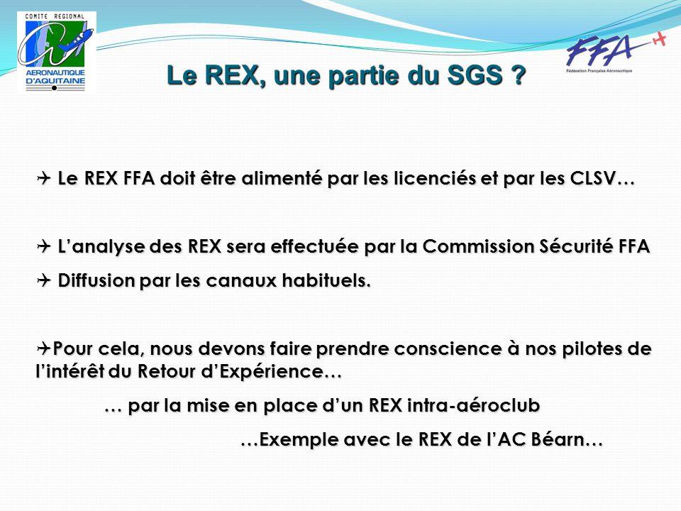  Le REX FFA doit être alimenté par les licenciés et par les CLSV…  L'analyse des REX sera effectuée par la Commission Sécurité FFA  Diffusion par les canaux habituels.