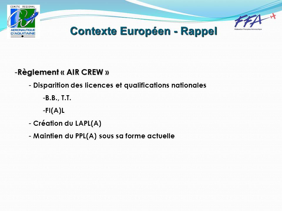 Contexte Européen - Rappel - Règlement « AIR CREW » - Disparition des licences et qualifications nationales - B.B., T.T.