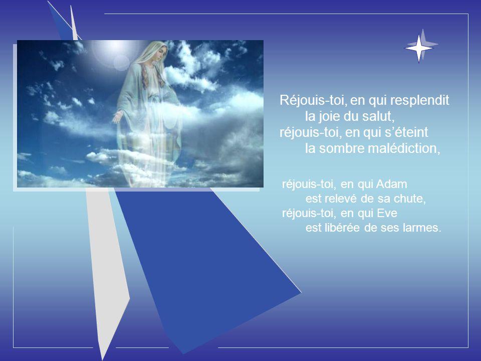 Un ange, parmi ceux qui se tiennent devant la Gloire du Seigneur fut envoyé dire à la Mère de Dieu : Réjouis-toi, Il incline les cieux et descend Celu