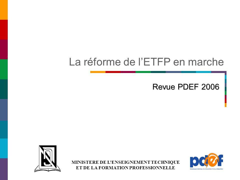 MINISTERE DE L'ENSEIGNEMENT TECHNIQUE ET DE LA FORMATION PROFESSIONNELLE La réforme de l'ETFP en marche Revue PDEF 2006