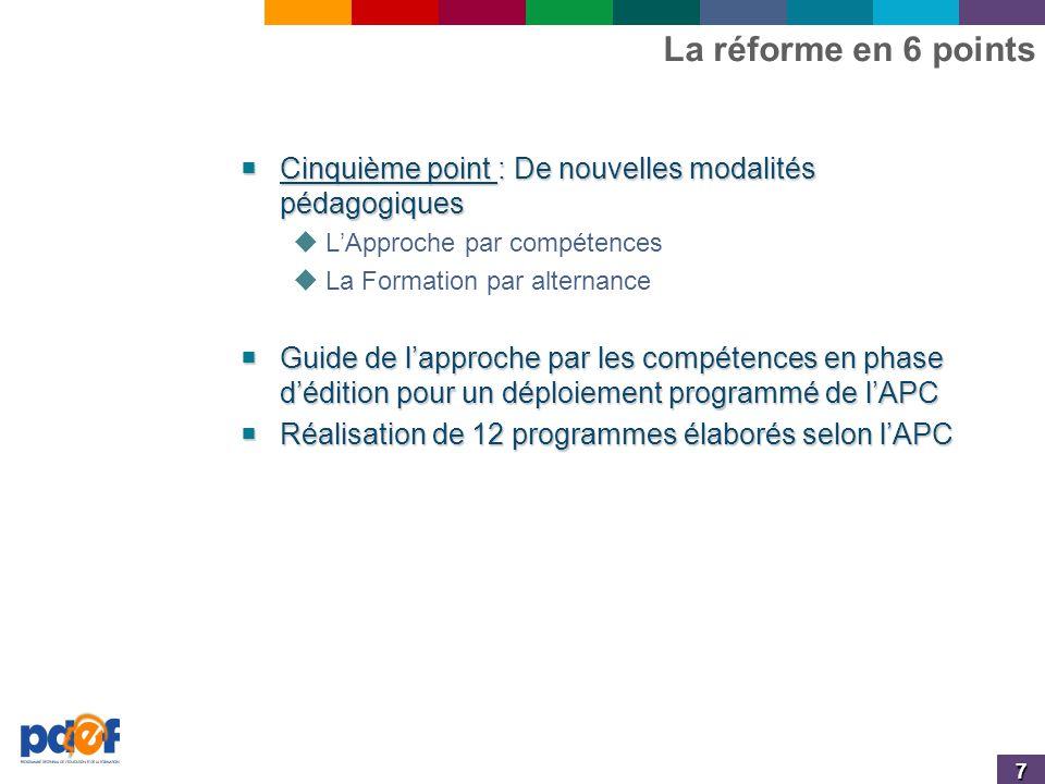 7 La réforme en 6 points  Cinquième point : De nouvelles modalités pédagogiques  L'Approche par compétences  La Formation par alternance  Guide de l'approche par les compétences en phase d'édition pour un déploiement programmé de l'APC  Réalisation de 12 programmes élaborés selon l'APC