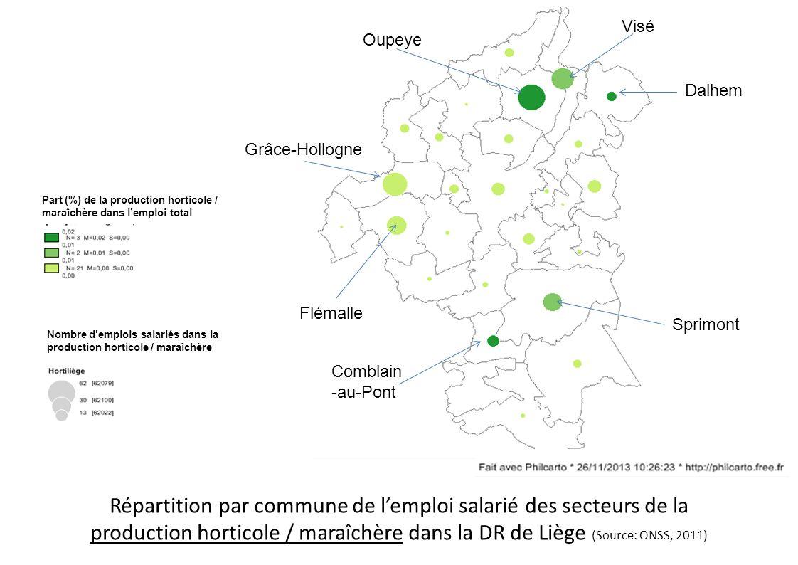 Répartition par commune de l'emploi salarié des services d'aménagement de parcs et jardins en Belgique (Source: ONSS, 2011) Part (%) des services d'aménagement de parcs et jardins dans l'emploi total Nombre d'emplois salariés dans des services d'aménagement de parcs et jardins