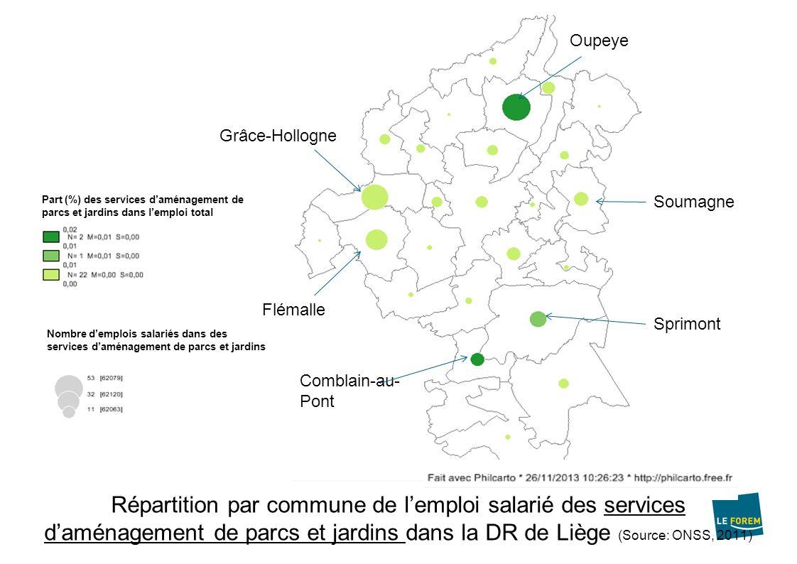 Emploi indépendant 1637 indépendants dont 221 sont des aidants 76 % sont des hommes 49 % ont plus de 50 ans Agriculteurs : Sprimont, Dalhem et Liège Horticulteurs : Liège, Oupeye, Blegny, Sprimont, Flémalle, Esneux, Chaudfontaine, et Aywaille.